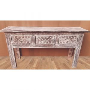 Hand Carved White-Wash Console Table with 3 drawers