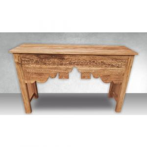 Hand Carved Natural Wood Console Table