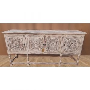 Hand Carved Sunburst White-Washed Buffet Table