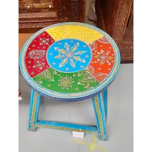 Hand-painted Stool (Blue)