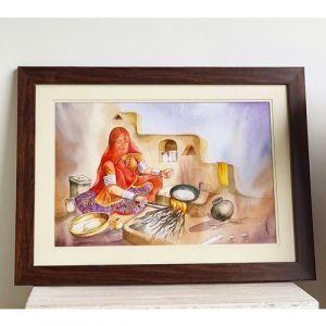 Traditional Rasoda (Rajasthani Open Kitchen) Painting