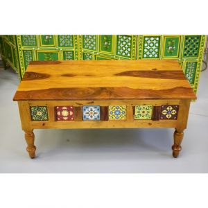 Rectangle Wooden Tile Fitted Coffee Table