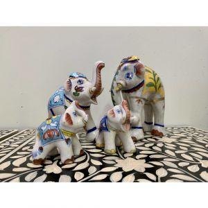 Ceramic Elephant Family Set of 4
