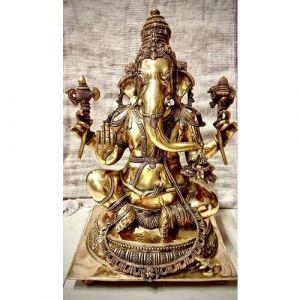 Big Brass Ganesha with Square Base