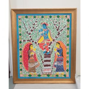 Krishna Raas Leela Madhubani Painting