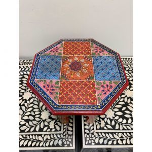 Hand Painted Orange Blue Bajot (Small)