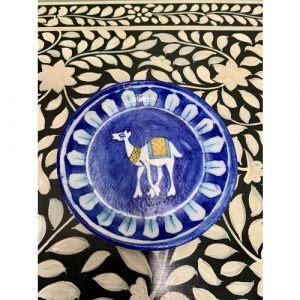 Animal Colour Ceramic Wall Plate (White Camel on Blue)