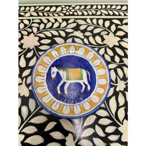 Animal Colour Ceramic Wall Plate (White Horse on Blue & Yellow)