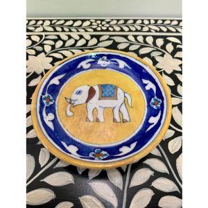 Animal Colour Ceramic Wall Plate (White Elephant on Yellow)