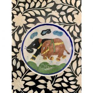Animal Colour Ceramic Wall Plate (Elephants on White)