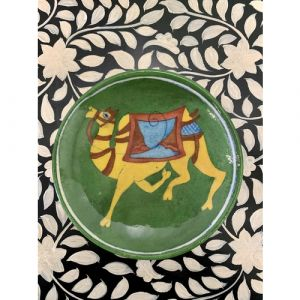 Animal Colour Ceramic Wall Plate (Yellow Camel on Green)