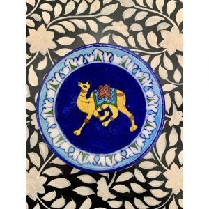 Animal Colour Ceramic Wall Plate (Yellow Camel on Blue)