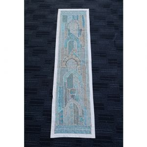 Hand Stitched Table Runner (White and Blue)
