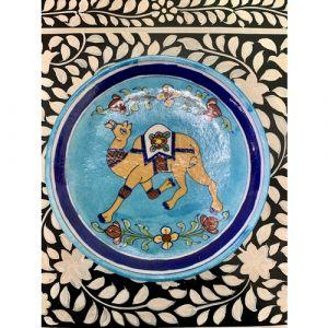 Animal Colour Ceramic Wall Plate (Camel on Light Blue)