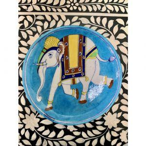 Animal Colour Ceramic Wall Plate (Elephant on Light Blue)