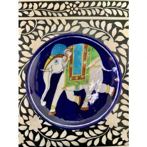 Animal Colour Ceramic Wall Plate (Elephant on Dark Blue)