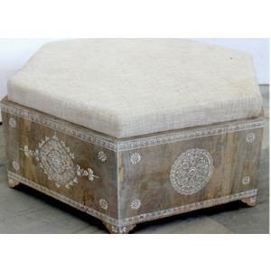 Wooden Painted Hexagonal Box with Cushion Seat
