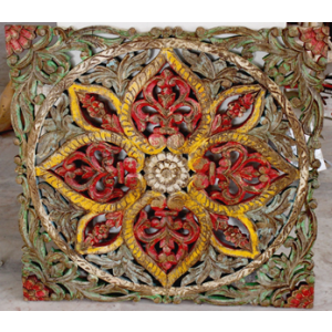 Wooden Carved Multi-Coloured Wall Decor Panel