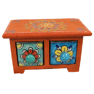 Wooden Ceramic Two Drawer Chest