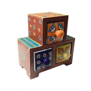 3 Ceramic Drawer Wooden Box Assorted colour (Center Aligned)