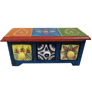 Wooden Spice Chest Box with 3 Ceramic Drawers
