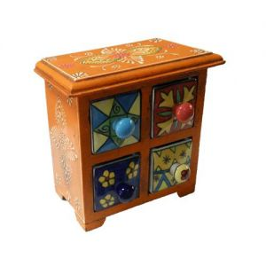 4 Ceramic Drawer Wooden Box Assorted colours