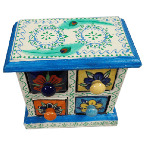 Wooden Ceramic 4 Drawer Box Assorted Colour