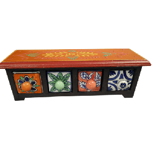 Handcrafted Wooden & Ceramic Multicolor 4 Drawer Box
