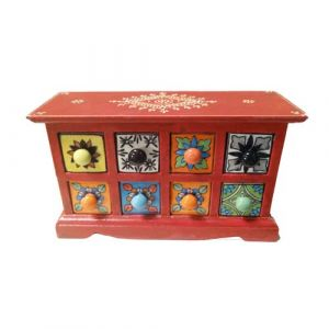 8 Ceramic Drawer Wooden Box Assorted color