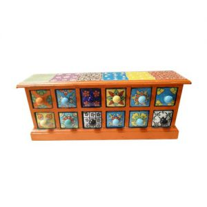 12 Ceramic Drawer Wooden Box Multicolor (Vertical)