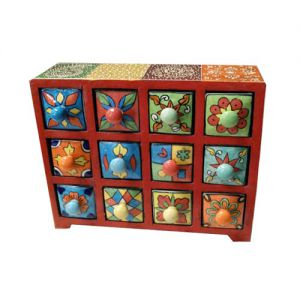 12 Ceramic Drawer Wooden Box Multicolor (Horizontal)