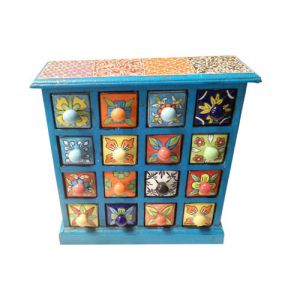 16 Ceramic Drawer Wooden Box Assorted color