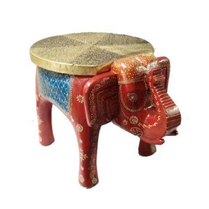 Red Wooden Elephant Stool Embose Painted Metal Fitted
