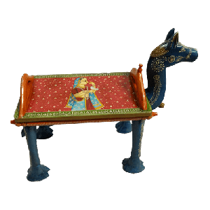 Handcrafted wooden camel bench