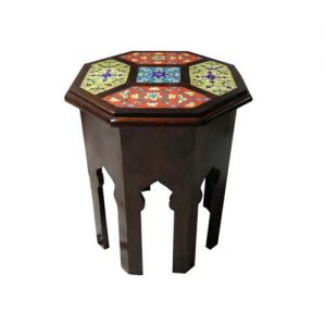 Wooden Octagon Tile Fitted Stool (18'' Height)