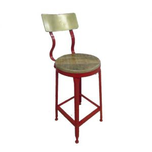 Bar Stool Iron Wooden Seat