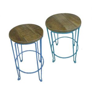 Round Stool Iron Wooden Seat (set of 2)