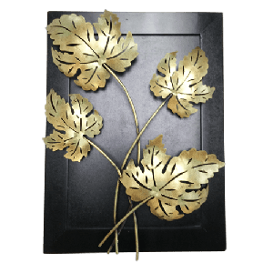 Wooden Frame Iron Maple Wall Decor