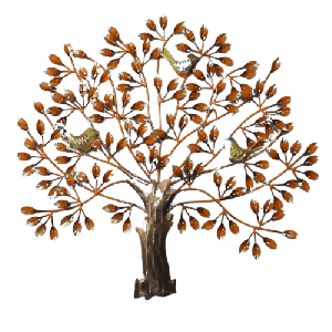 Wall Hanging Iron 3 Bird Tree