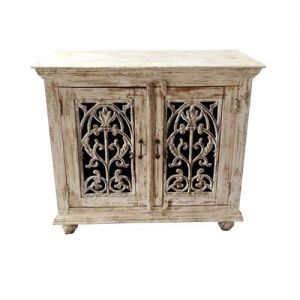 Wooden Cabinet With Metal Carved Design Distress Finish