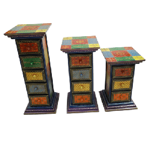 Colourful Wooden Drawer set hand crafted & painted (5 drawers)
