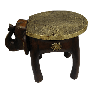 Wooden painted elephant brass stool