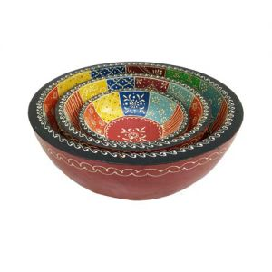 Bowl Set Wooden Emboss Painted (Set Of 3)