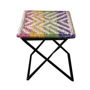 Iron Stool Hand Woven  Chindi And Soot (Foldable)