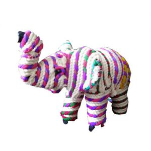 Paper Mache Elephant  Hand Woven Chindi And Soot