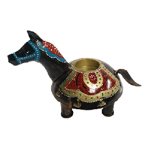 Tribal iron painted T light horse