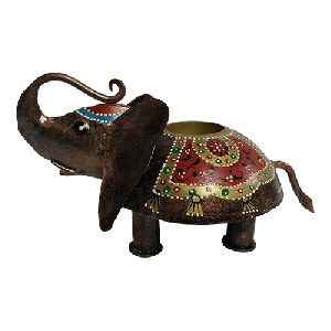 Tribal iron painted t lite elephant