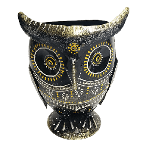Iron painted owl pen stand