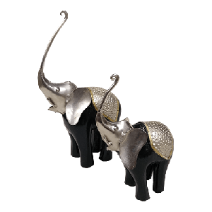 Iron Wooden Elephant set of 2 pcs