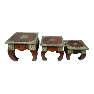 Opm Stool Brass Fitted set of 3 pcs